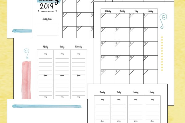 2019 printable planner: color or black and white