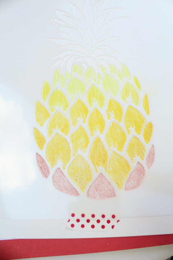 pineapple stencil light yellow rows