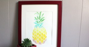 pineapple stencil watercolor wall art project
