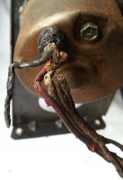 close up of damaged wires