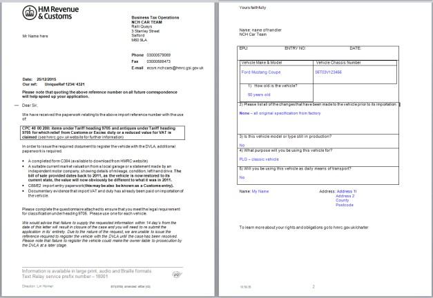 HMRC letter
