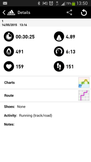 Overview of a workout on the watch.