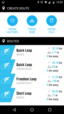 The overview of routes, pick one for the details
