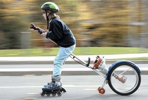 Funny Kid on Rollerblades