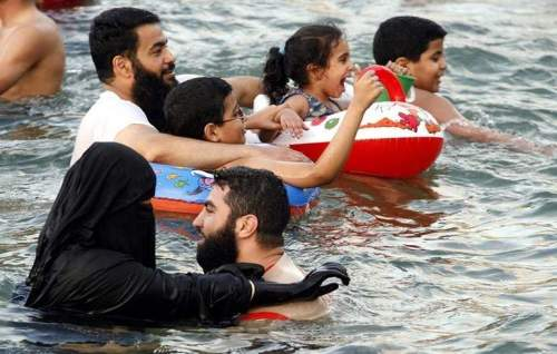 Muslim Couple Swimming