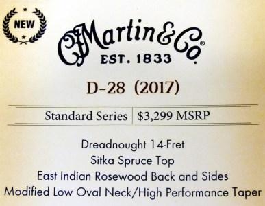 Martin D-28 2017 NAMM label