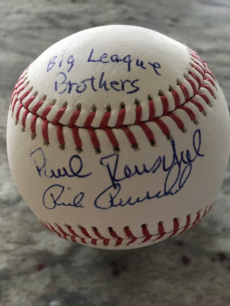 Big League Brothers autographed baseball Rick and Paul Reuschel Chicago Cubs