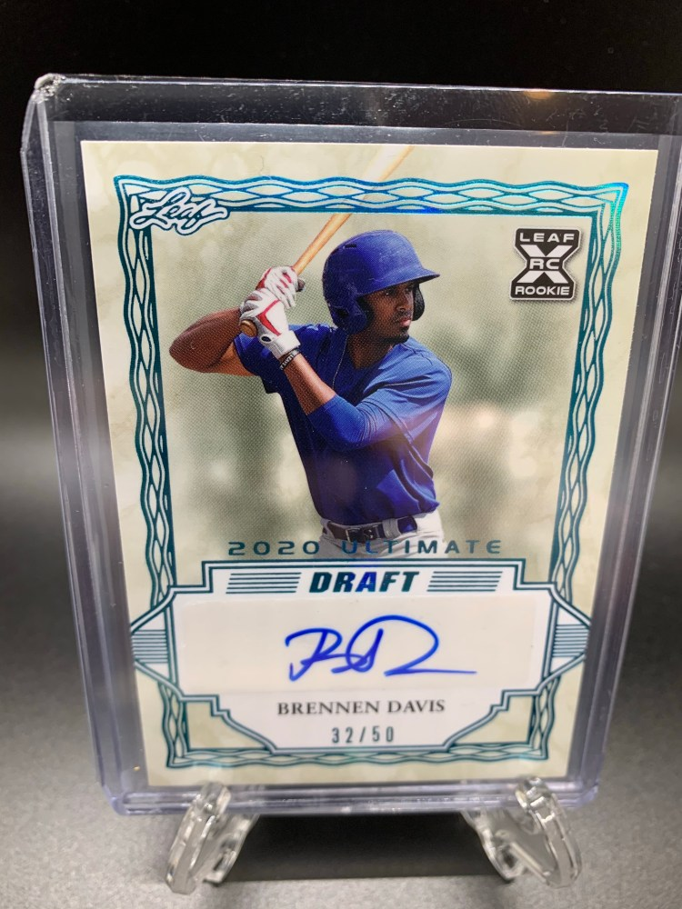 2020 Leaf Ultimate Draft Brennen Davis Chicago Cubs baseball card