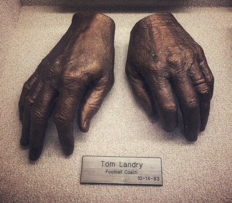 Tom Landry, Football Coach:  The Hand Collection at Baylor Medical Center in Dallas, Texas