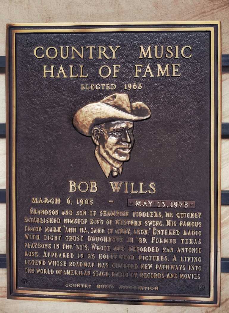 Bob Wills at the Country Music Hall of Fame in Nashville, Tennessee
