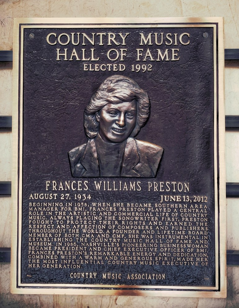 Frances Williams Preston at the Country Music Hall of Fame in Nashville, Tennessee