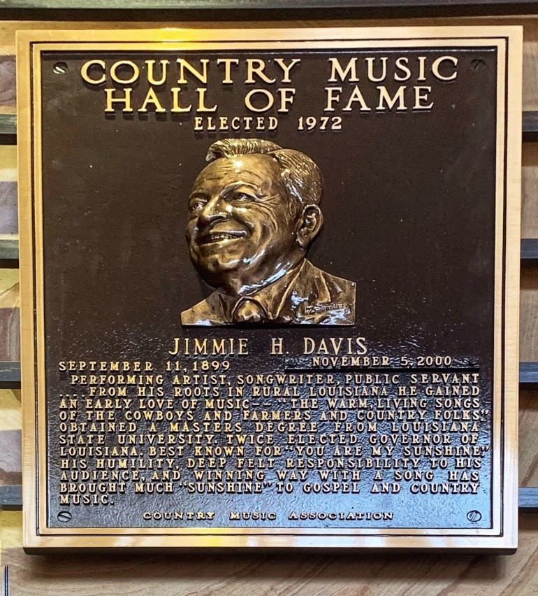 Jimmie H. Davis at the Country Music Hall of Fame in Nashville, Tennessee