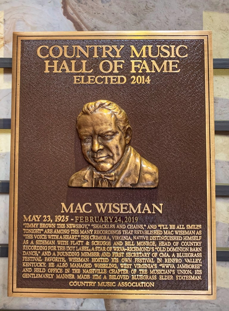 Mac Wiseman at the Country Music Hall of Fame in Nashville, Tennessee