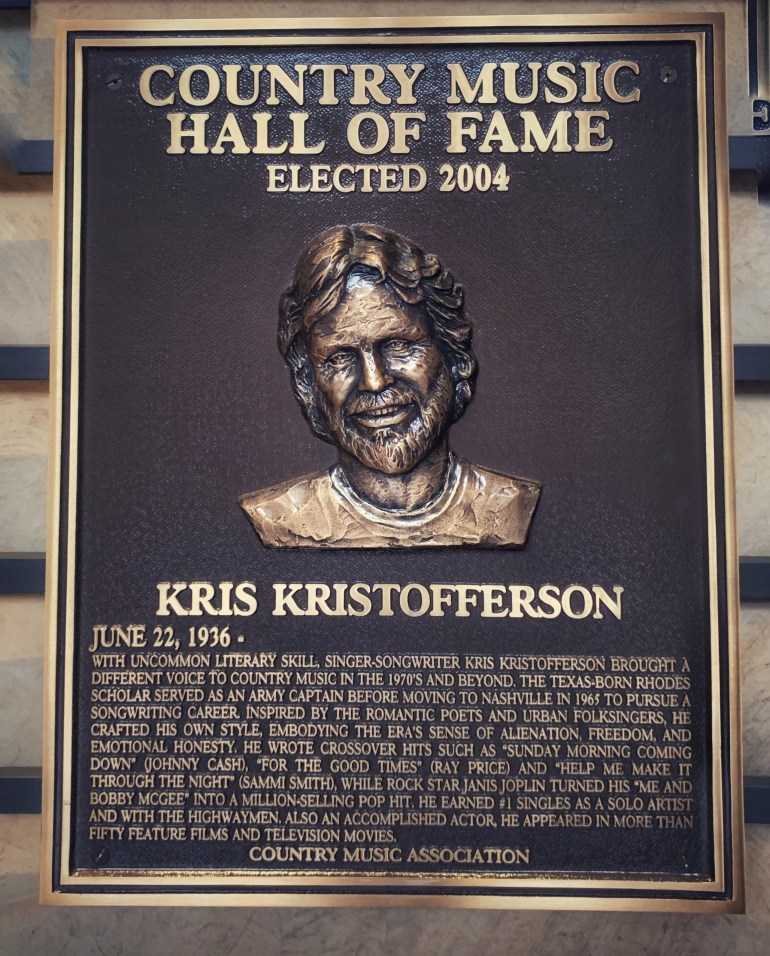 Kris Kristofferson at the Country Music Hall of Fame and Museum in Nashville, Tennessee