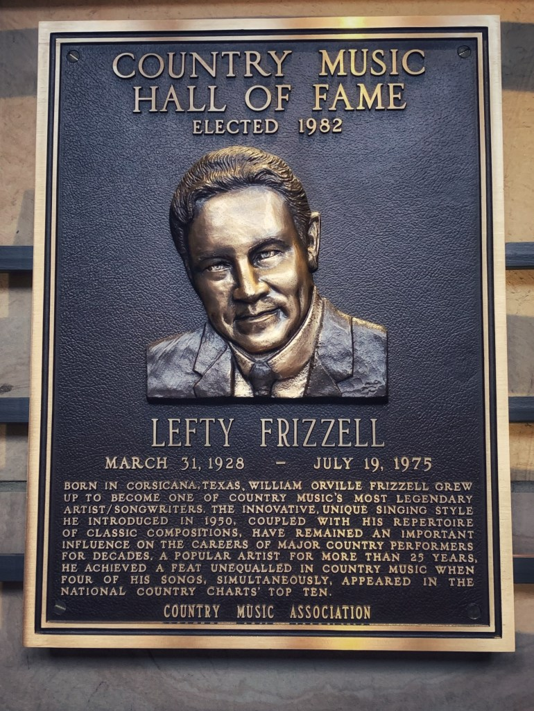 Lefty Frizzell at the Country Music Hall of Fame in Nashville, Tennessee