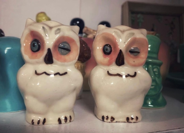 Winking Owls Salt and Pepper Shakers: An Afternoon of Antiques in Snohomish, Washington