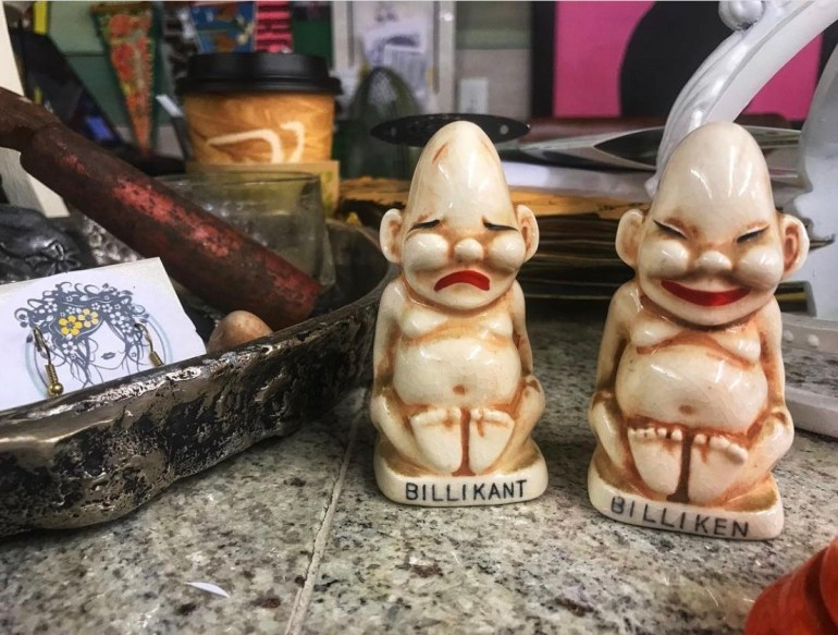 Billiken Salt and Pepper Shakers:  An Afternoon of Antiques in Snohomish, Washington