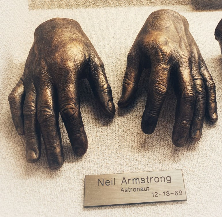Neil Armstrong: Bronze Historic Hands at Baylor University Medical Center in Dallas, Texas