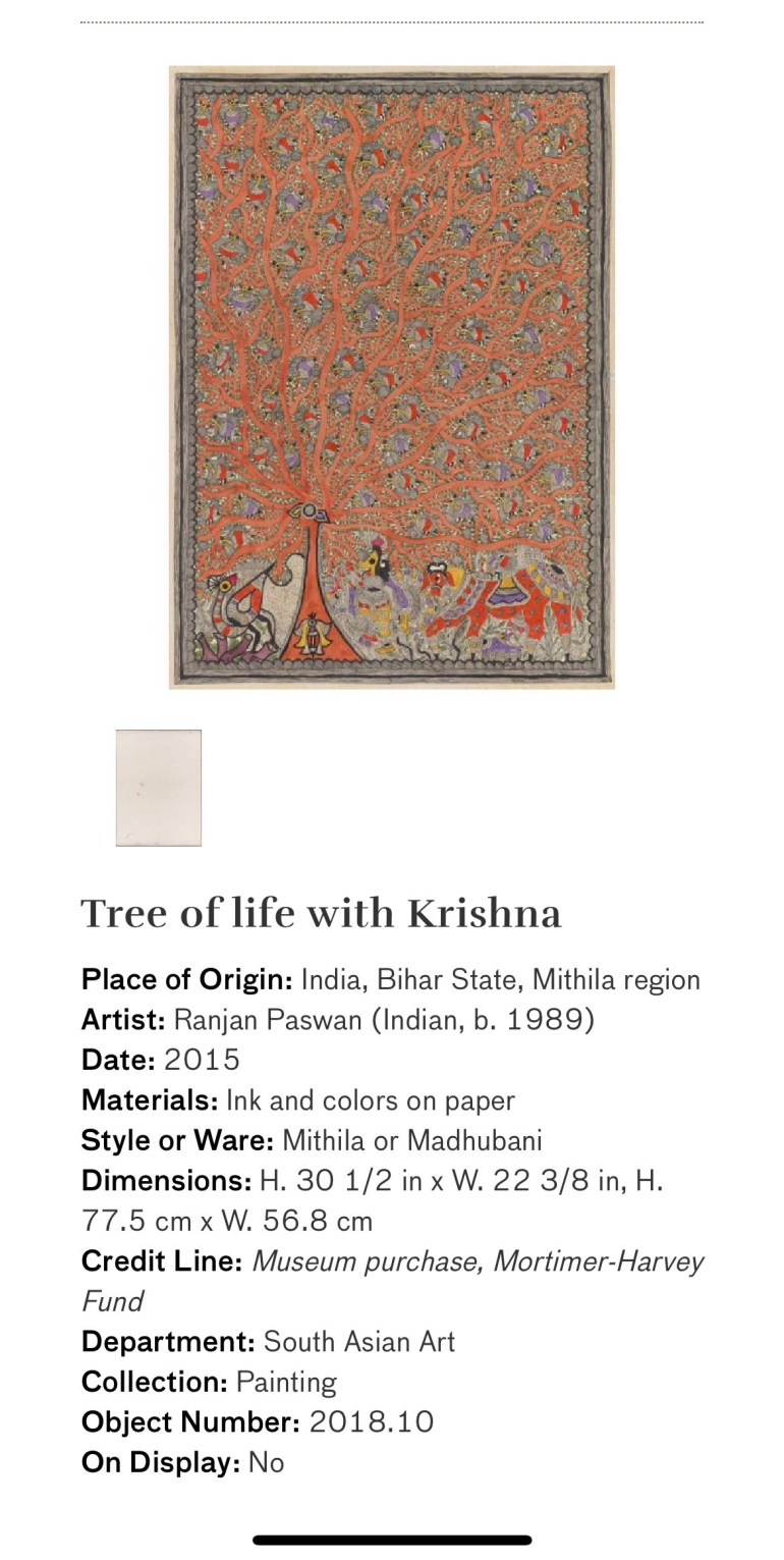 Tree of life with Krishna: Touring Art Museums During Covid: A Virtual Tour of Painting is My Everything: Art from India's Mithila Region at the Asian Museum of Art in San Francisco