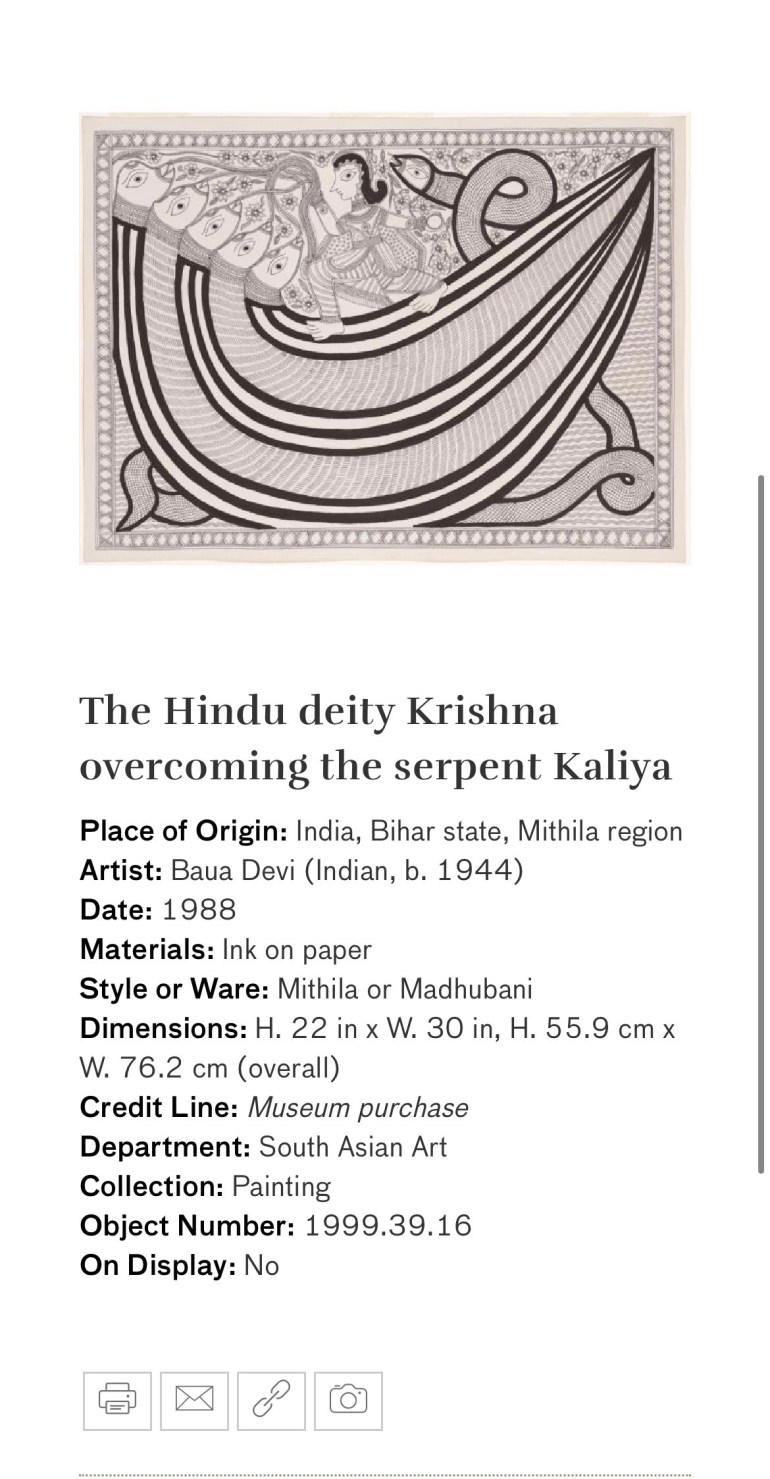 The Hindu Deity Krishna Overcoming the Serpent Kaliya: Touring Art Museums During Covid: A Virtual Tour of Painting is My Everything: Art from India's Mithila Region at the Asian Museum of Art in San Francisco