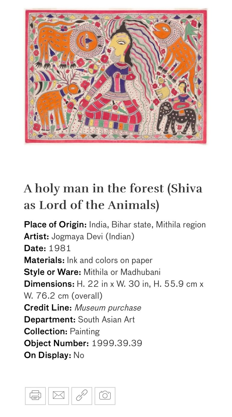 A Holy Man in the Forest (Shiva as Lord of the Animals): Touring Art Museums During Covid: A Virtual Tour of Painting is My Everything: Art from India's Mithila Region at the Asian Museum of Art in San Francisco