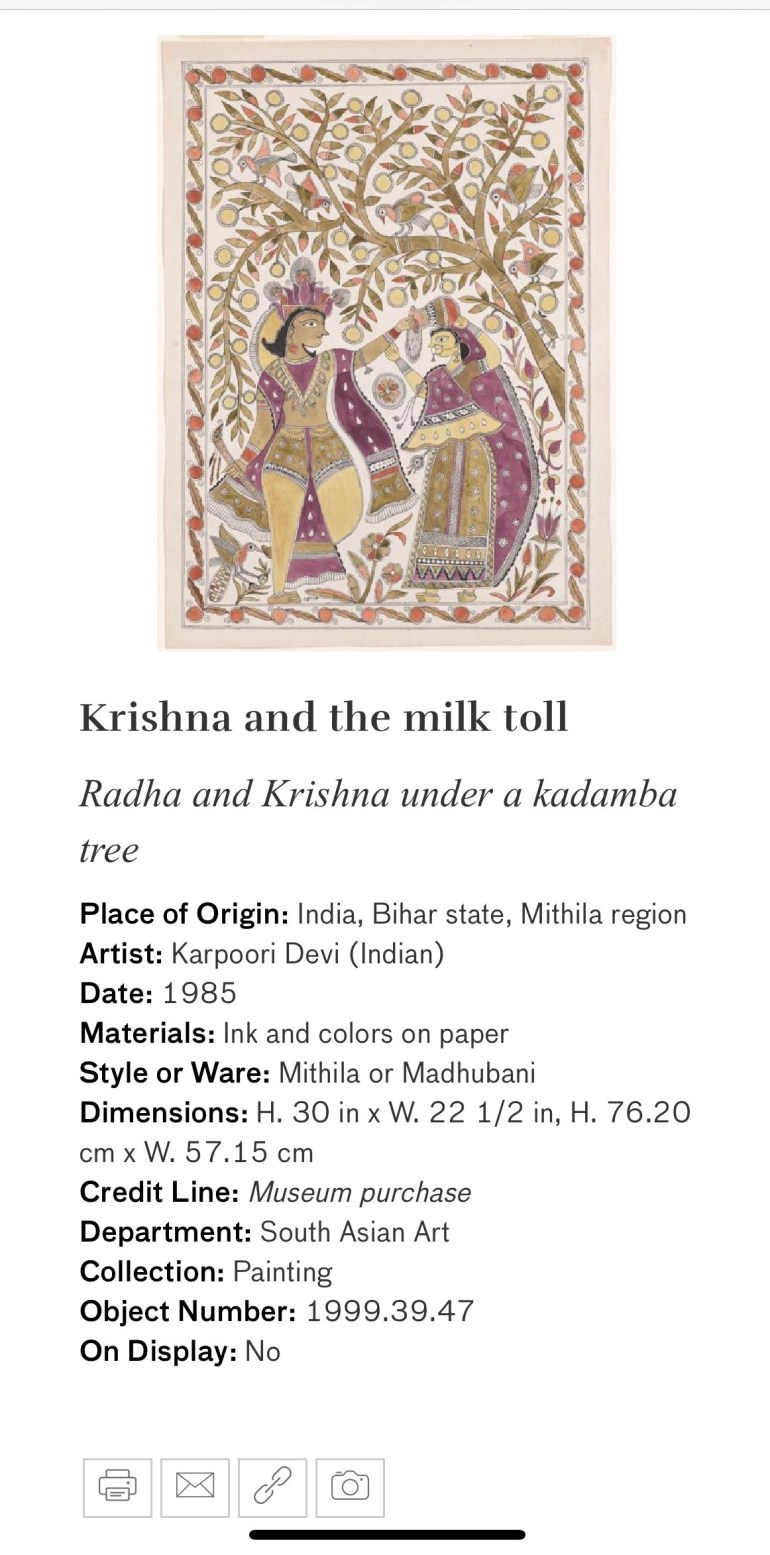 Krishna and the Milk Toll: Touring Art Museums During Covid: A Virtual Tour of Painting is My Everything: Art from India's Mithila Region at the Asian Museum of Art in San Francisco