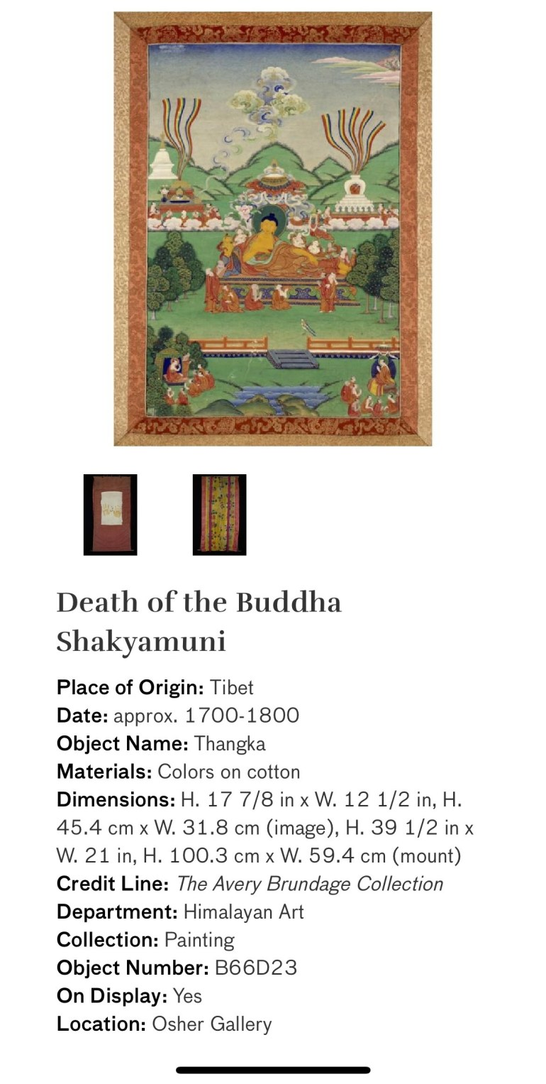 Death of the Buddha Shakyamuni: Touring Art Museums During Covid: Divine Bodies at the Asian Museum of Art in San Francisco