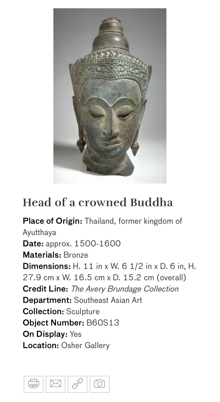 Head of a Crowned Buddha: Touring Art Museums During Covid: Divine Bodies at the Asian Museum of Art in San Francisco