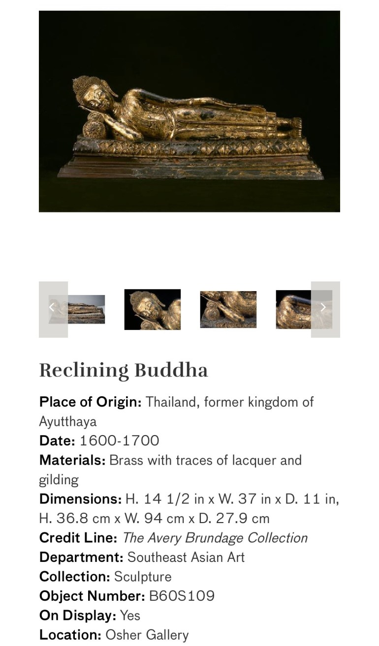 Reclining Buddha: Touring Art Museums During Covid: Divine Bodies at the Asian Museum of Art in San Francisco