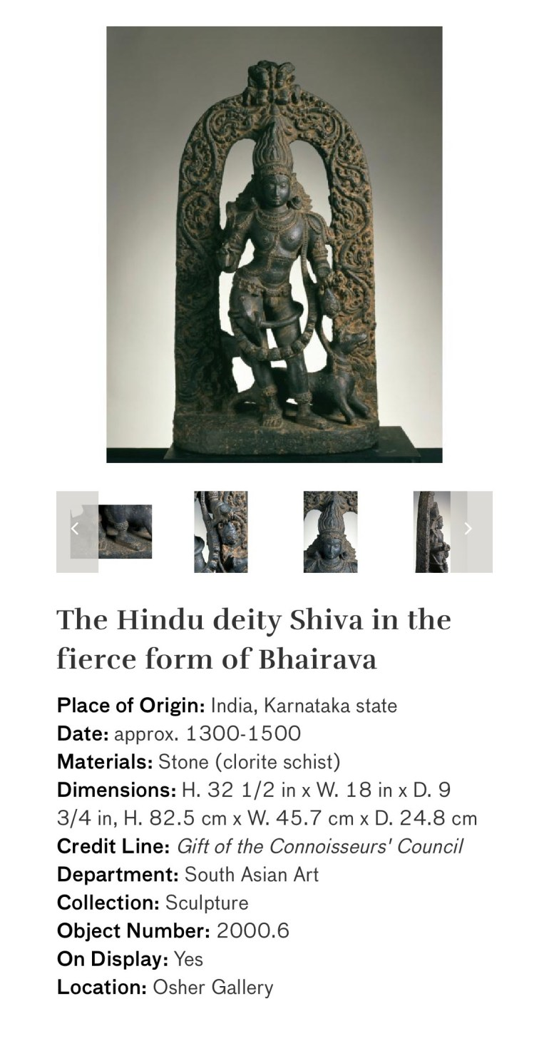 The Hindu Deity Shiva in the Fierce Form of Bhairava: Touring Art Museums During Covid: Divine Bodies at the Asian Museum of Art in San Francisco