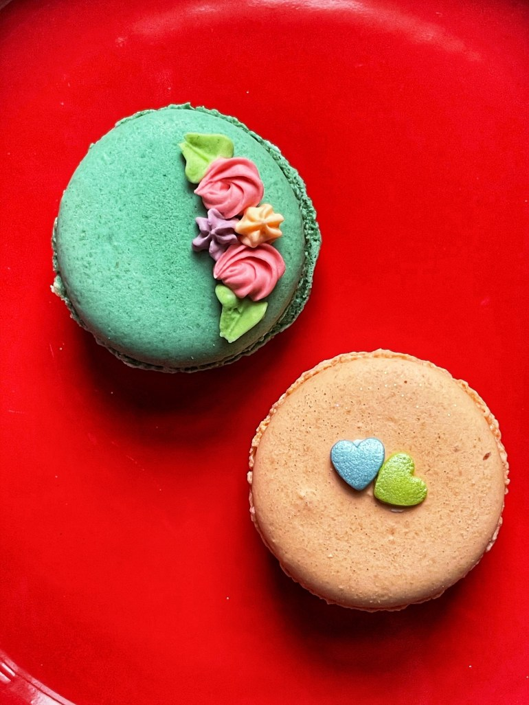 Delicate Valentines Macarons from Sweet Themes Bakery in Kent, Washington