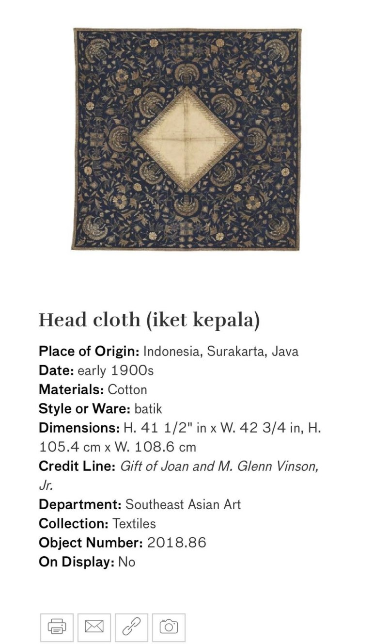 Head Cloth (Iket Kepala): Touring Art Museums During Covid: Asian Art Museum Masterpieces at the Asian Museum of Art in San Francisco