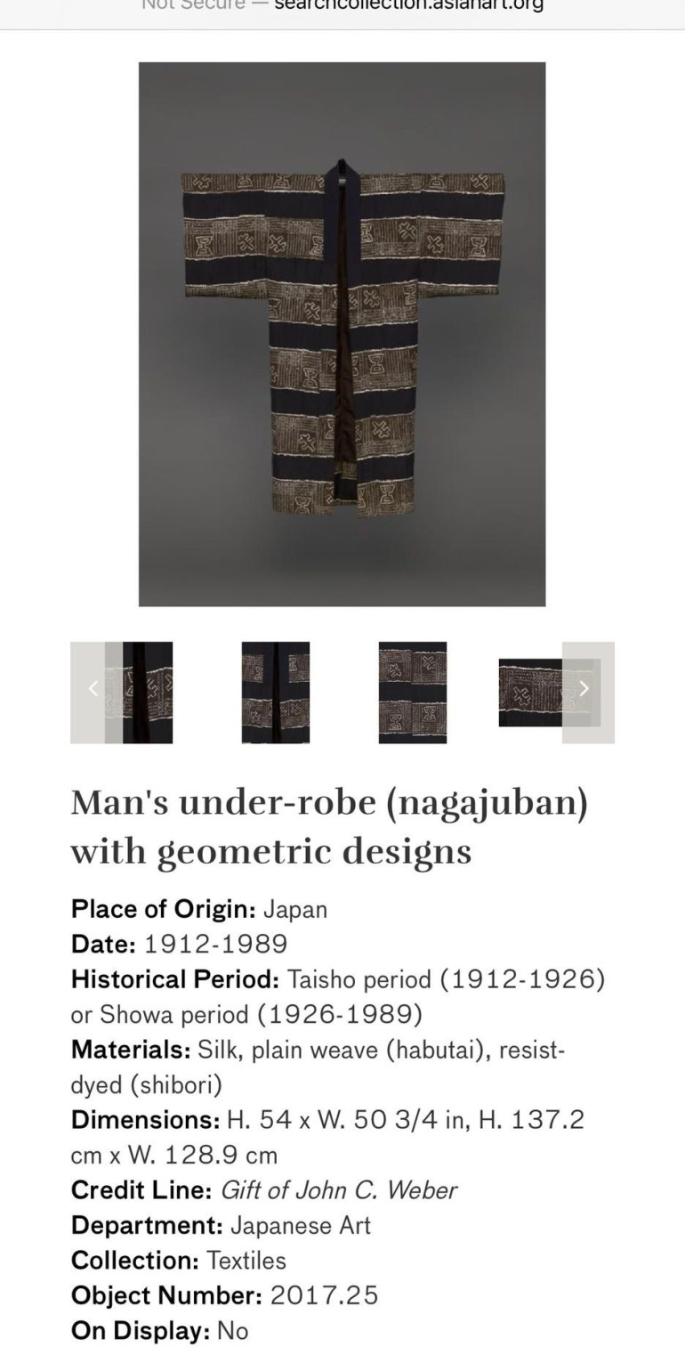 Man's Under-Robe (Nagajuban) with Geometric Designs: Touring Art Museums During Covid: Asian Art Museum Masterpieces at the Asian Museum of Art in San Francisco
