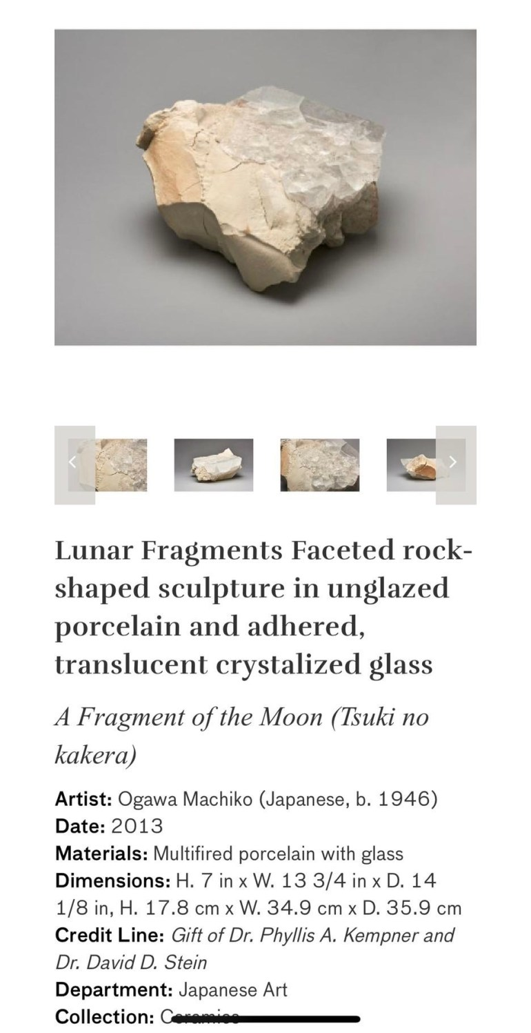 Lunar Fragments Faceted Rock-Shaped Sculpture in Underglazed Porcelain and Adhered, Translucent Crystalized Glass: Touring Art Museums During Covid: Asian Art Museum Masterpieces at the Asian Museum of Art in San Francisco