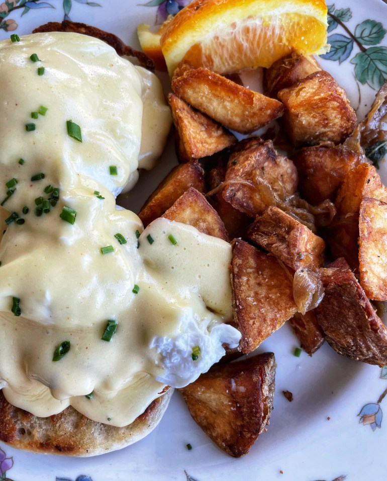 Cell Pic Sunday: June 27, 2021: Crab Benedict at Harry's Beach House in West Seattle
