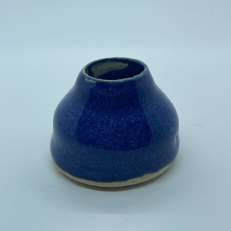 Off the Pottery Wheel: Dark Blue Candle Stick Holder