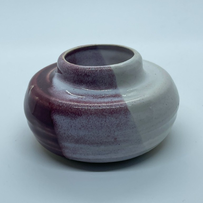 Off the Pottery Wheel: Small Cranberry and White Vase