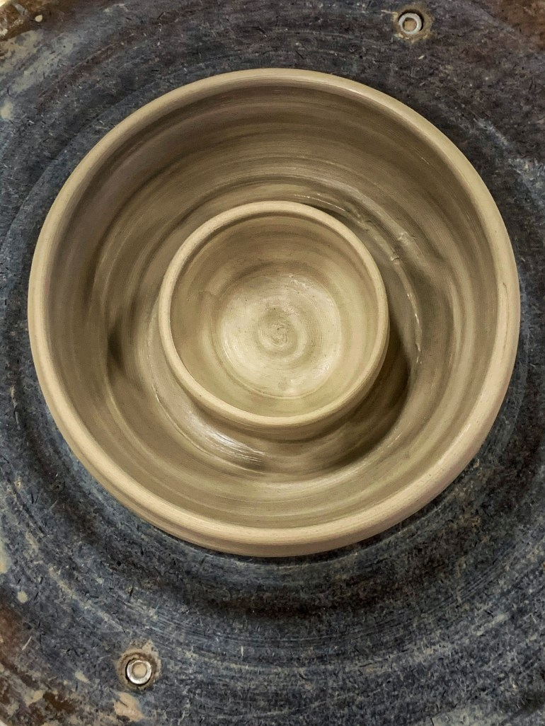 On the Pottery Wheel: My First Attempt at a Single Serve Chip and Dip Bowl