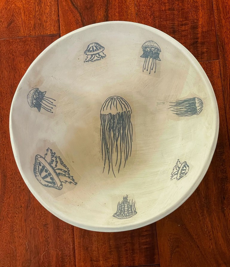 Off the Pottery Wheel: Large Jelly Fish Bowl Using Elan Transfers