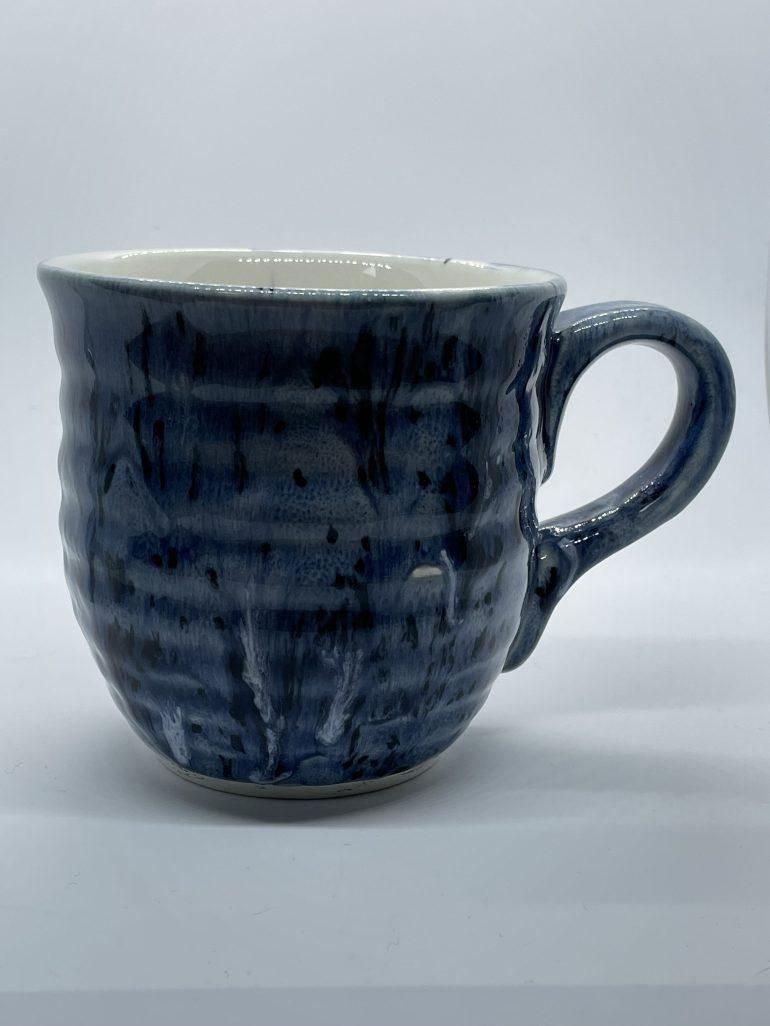 Off the Pottery Wheel: Drippy Blue Mug