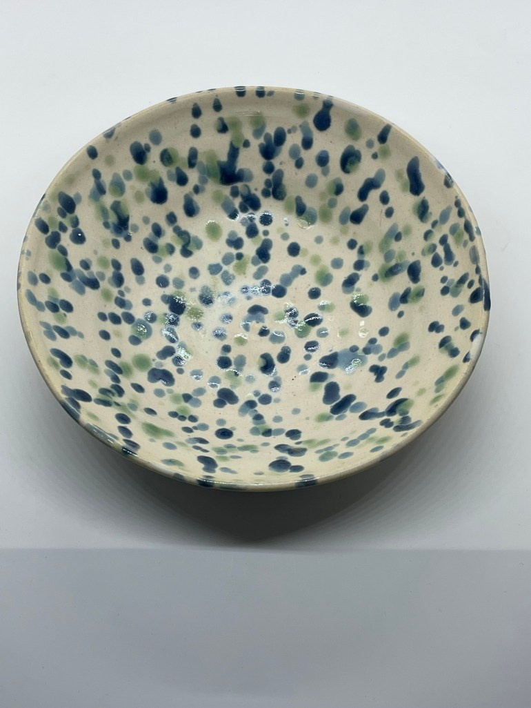 Off the Pottery Wheel: Blue and Green Confetti Serving Bowl