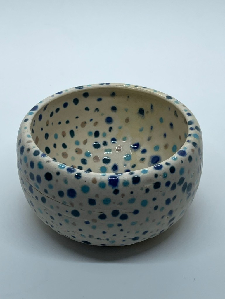 Off the Pottery Wheel: Shades of Blue Confetti Bowl