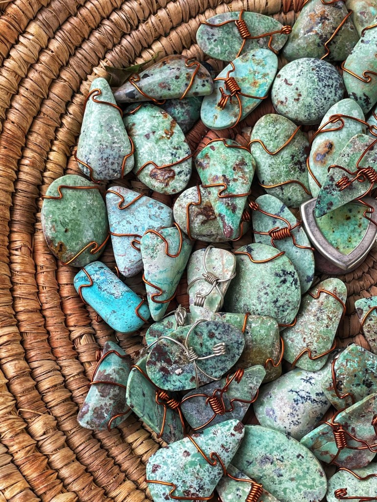 Turquoise Colored Rocks in Santa Fe, New Mexico