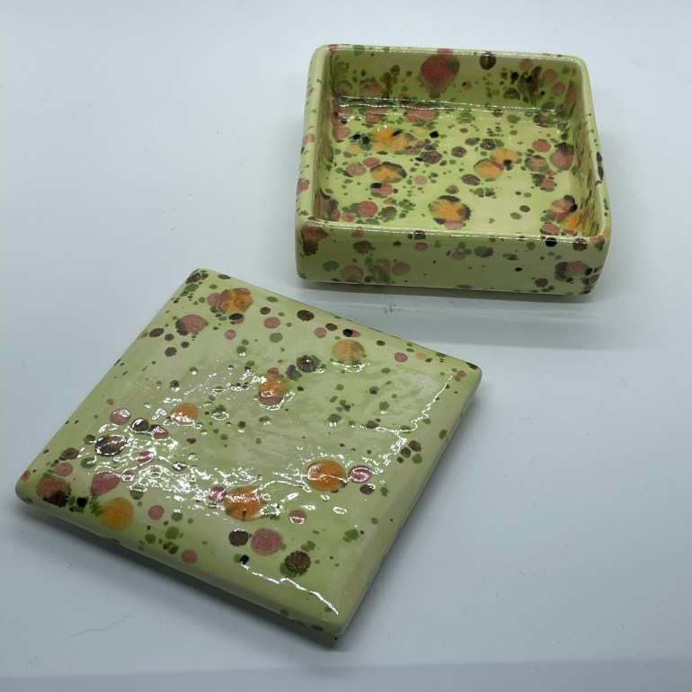 Hand Built Pottery: Green Speckled Box