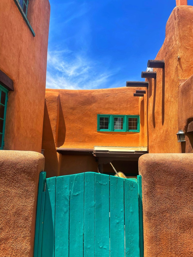 Blue Door and Windows in Taos, New Mexico