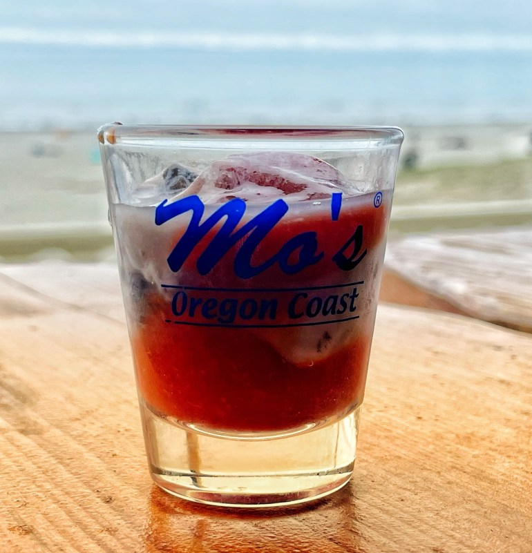 A Fan of Oyster Shooters on the Beach at Mo's in Seaside, Oregon