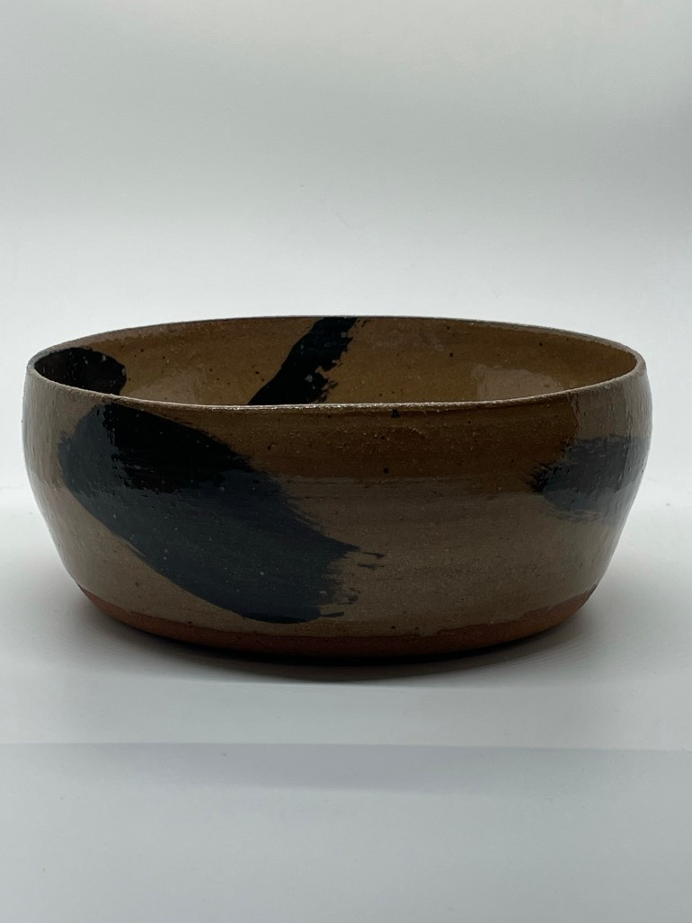Hand Made Pottery: Dark Clay Serving Bowl, Profile View