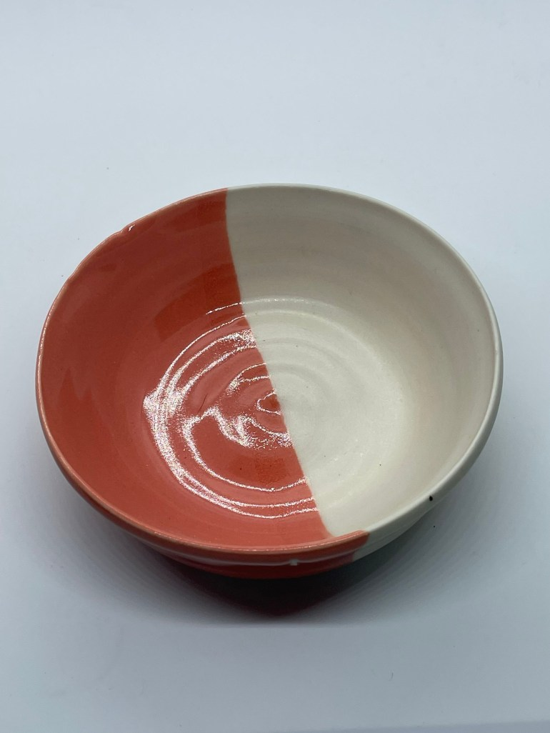Hand Made Pottery: Porcelain and Tangerine Snack Bowl