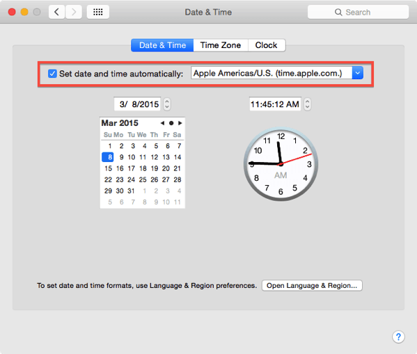 Yosemite date and time preferences