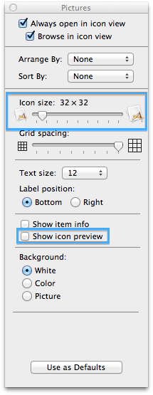 Finder View Options